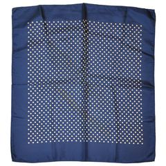 Classic Navy & Cream Polka Dot Silk Handkerchief