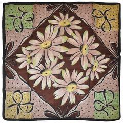 "Bold Multi-Color ""Portrait of Daisies"" Silk Scarf"