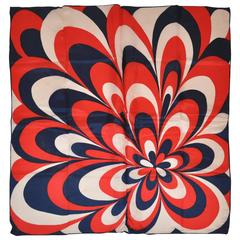 Vividly Bold Red, Navy & White Abstract Scarf
