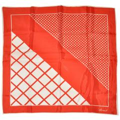 "Burmel Red & White ""Multi- Checkered"" Silk Scarf"