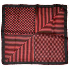Navy & Deep Red Checkered Men's Silk Handkerchief