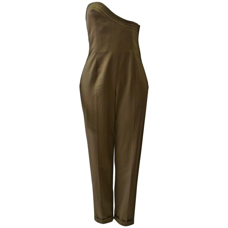Rare Gianni Versace Olive Green Jumpsuit