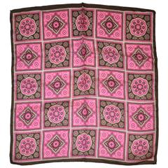 Brown, Fuchsia & White Print Silk Scarf