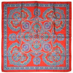 Detailed Red, Plum & Turquoise Palsey Silk Scarf