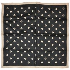 Black with Beige Accent Silk Men's Handkerchief