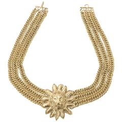 80's Chanel Vintage Leo Lion Mane Choker Necklace