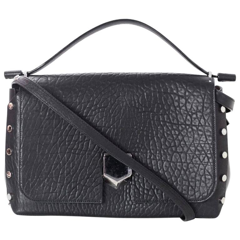 2082067950331 Jimmy Choo NEW Black Grainy Medium Lockett Bag rt.  2