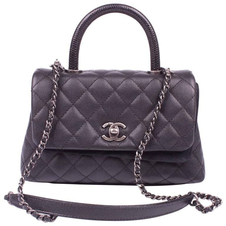 654719fbe3f42 Chanel Coco Handle Flap Bag Mini Lizard and Caviar Quilted Leather - black  For Sale