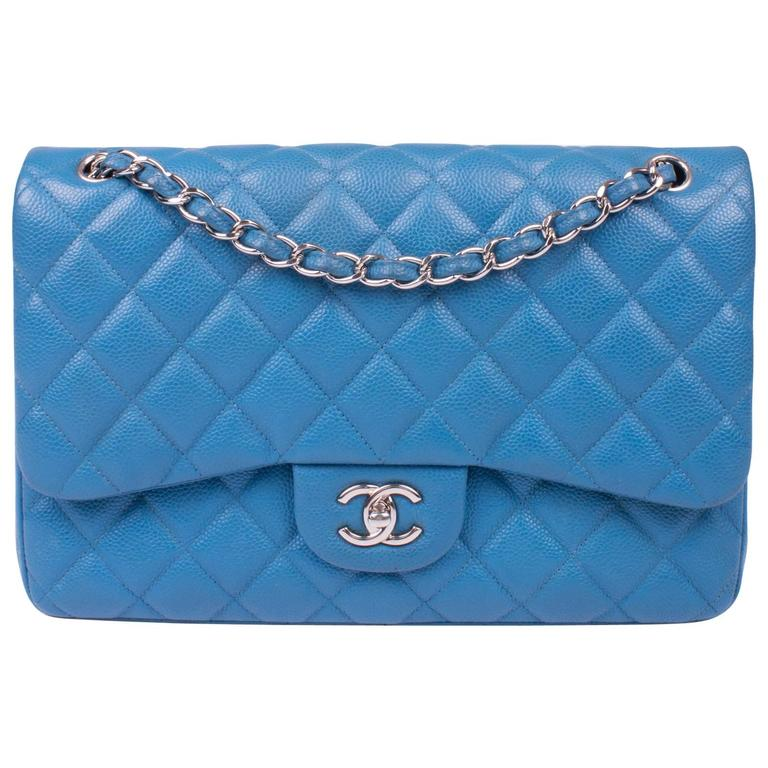 c5037dae6798 Chanel 2.55 Timeless Jumbo Double Flap Bag - blue caviar leather For Sale