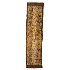 "Bronze & Gold Lame ""Leopard"" Scarf with Fringe"