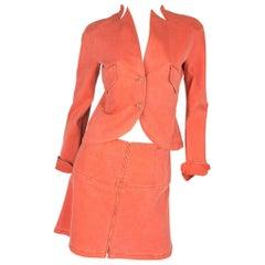 Chanel 3-pcs Denim Suit Jacket, Pants & Skirt - orange