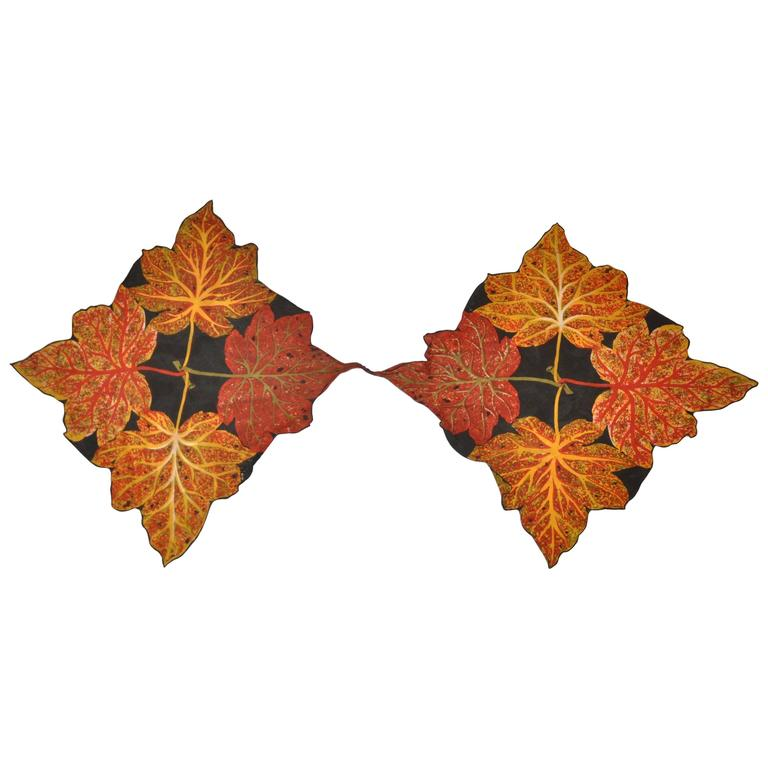 "Rare Double-Panel ""Autumn Leaves"" Silk Scarf"