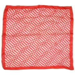 "Red & White ""Zig-Zag"" Silk Handkerchief"