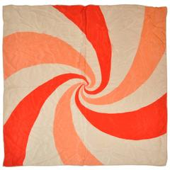 "Cream, Peach & Red ""Swirl"" Silk Scarf"
