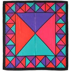 """Multi-Color """"Triangles"""" Silk Scarf"""