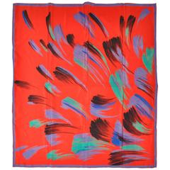"Multi Color ""Brush Strokes"" Silk Scarf"