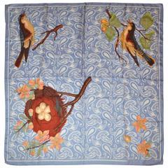 "Perry Ellis Lavender ""Palsey & Floral Birds"" Silk Scarf"