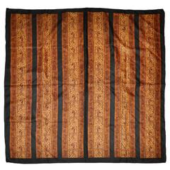 Ellen Tracy Panels of Multi Browns with Black Border Silk Scarf