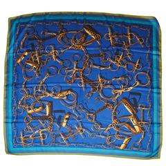 """Large Bold Multi-Color """"HorseBit"""" Silk Scarf"""