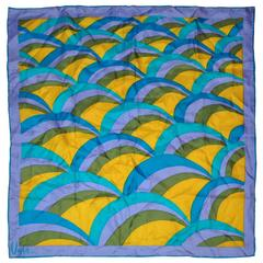 Vera Multi-Lavender, Olive, Yellow & Blue Silk Scarf