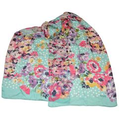 "Kenzo Large Rectangle Multi-Color ""Multi-Floral with Dots"" Silk Chiffon Scarf"