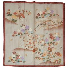 "Japanese Multi-Floral Silk Screen ""Floral Garden"" Silk Handkerchief"