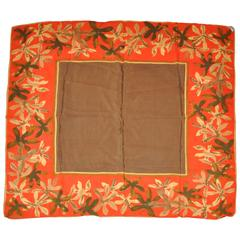 Vera Brown Center with Multi-Floral Border Silk Scarf