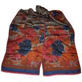 "Bill Blass Multi ""Autumn Shades"" Floral Silk Scarf with Fringed Edges"