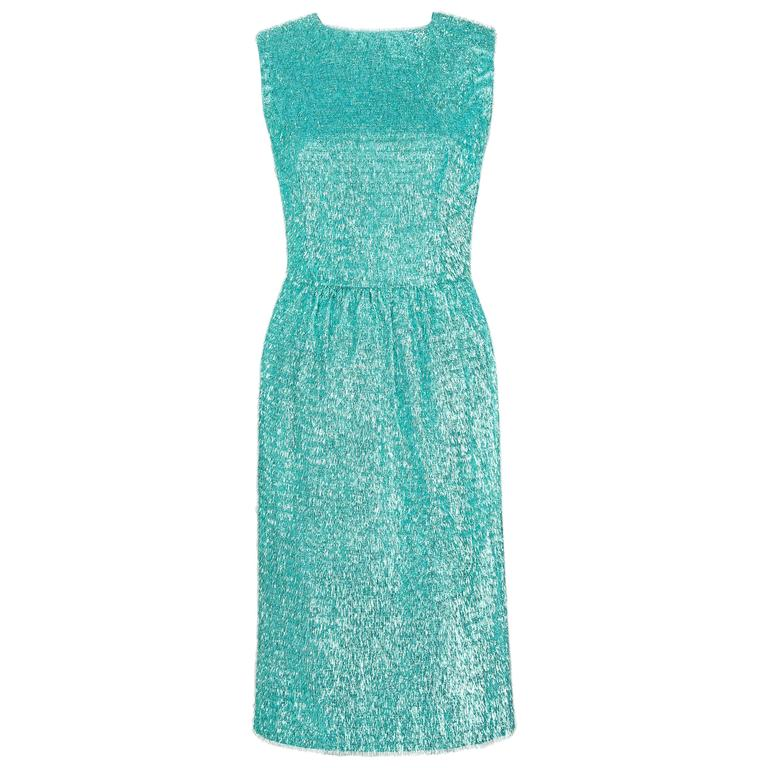 COUTURE c.1960's Turquoise Blue Metallic Tinsel Cocktail Party Shift Dress For Sale