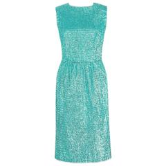 COUTURE c.1960's Turquoise Blue Metallic Tinsel Cocktail Party Shift Dress