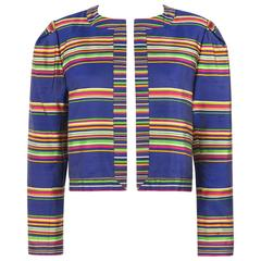 YVES SAINT LAURENT Cruise 1991 YSL Multicolor Striped 100% Silk Blazer Jacket