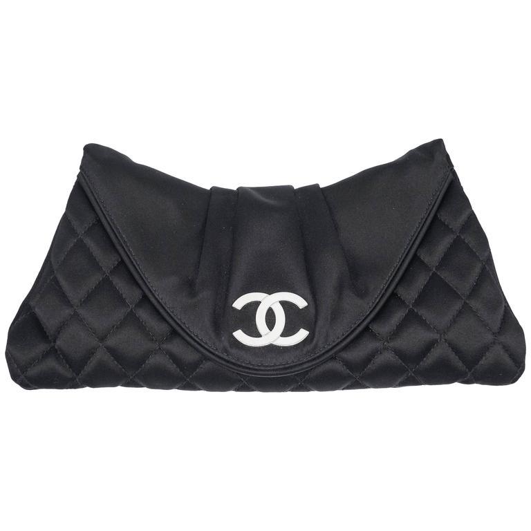 Chanel Black Quilted Satin Half Moon Silver Interlocking CC Clutch 1