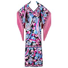 EMILLIO PUCCI c.1960's 2 Pc Multicolor Floral Print Silk Maxi Dress Fringe Shawl