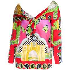 Gianni Versace Vintage 1990s Miami Print Pink Silk Scarf Shirt Top