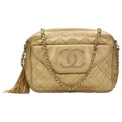 1980s Chanel Gold Quilted Lambskin Vintage Camera Bag