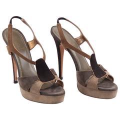 YVES SAINT LAURENT Tan & Gray Suede SANDALS PUMPS Heels SHOES Size 39 1/2