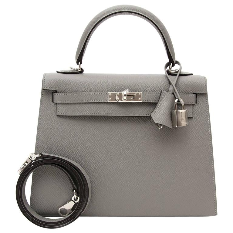 025a3d602085 Brand New Hermes Kelly 25 Gris Mouette Epsom at 1stdibs