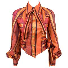 1990s Christian Lacroix Colourful Striped Silk Blouse With Gilt Metal Buttons