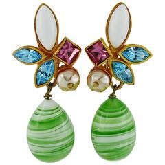 Christian Lacroix Vintage Jewelled Dangling Earrings