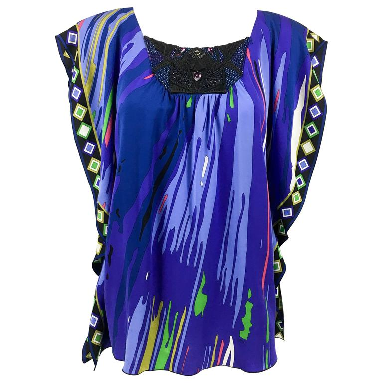 Pucci Embellished Printed Silk Jersey Blouse