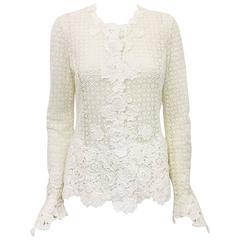 Oscar de la Renta Ivory Crochet Fitted Jacket With Floral Applique Trim