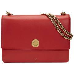2010s Celine Vermillion Red Lambskin Medium Coin Handbag