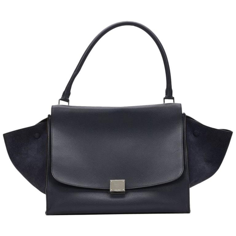 2010s Celine Navy Drummed Calfskin and Suede Large Trapeze