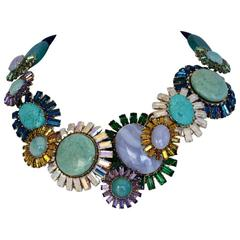 Philippe Ferrandis Chalcedony, Agate, Jasper & Turquoise Constellation Necklace