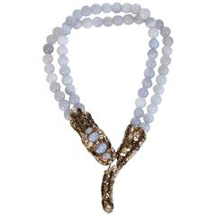 Philippe Ferrandis Chalcedony and Swarovski Crystal Snake Necklace