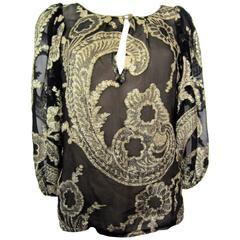 YVES SAINT LAURENT black silk blouse with gold flowers