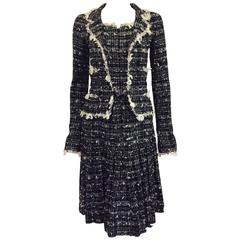 Chanel 2005 Cruise Black & White Tweed Belted Long Sleeve Dress w  Trim