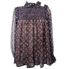 YVES SAINT LAURENT purple silk blouse
