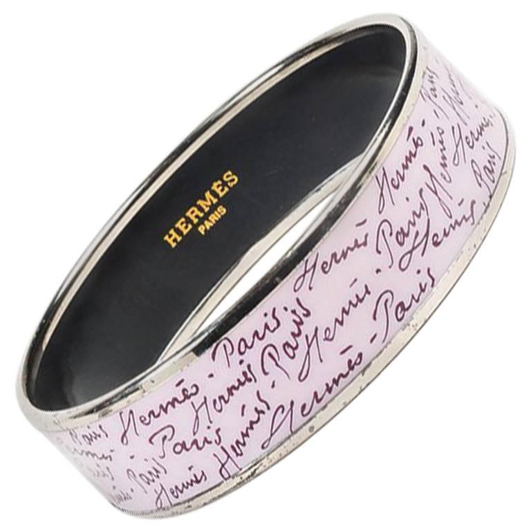 Hermes Palladium Plated Purple Enamel Printed Bangle Bracelet SZ 65 1
