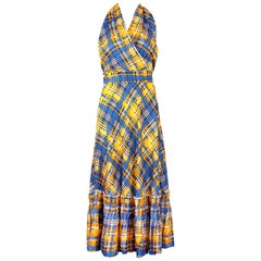 Yves Saint Laurent YSL Yellow & Blue Plaid Silk 2-Piece Skirt & Halter Ensemble